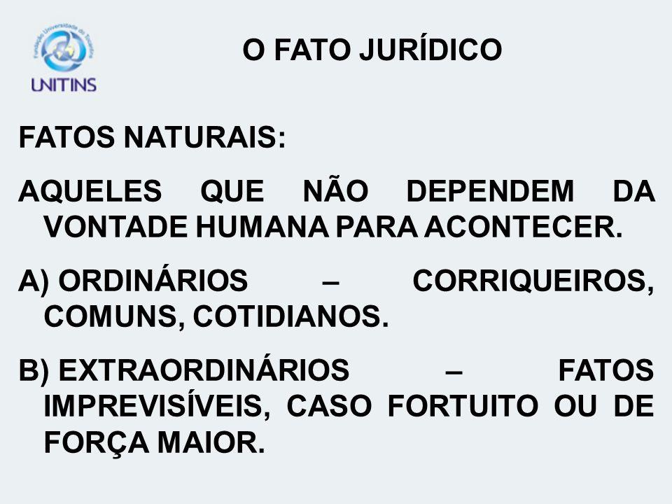 O FATO JURÍDICO FATOS NATURAIS: AQUELES QUE NÃO DEPENDEM DA VONTADE HUMANA PARA ACONTECER. ORDINÁRIOS – CORRIQUEIROS, COMUNS, COTIDIANOS.