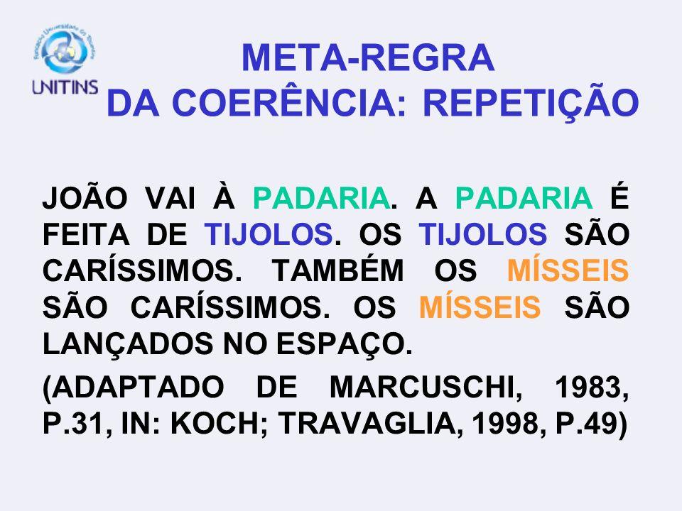 META-REGRA DA COERÊNCIA: REPETIÇÃO