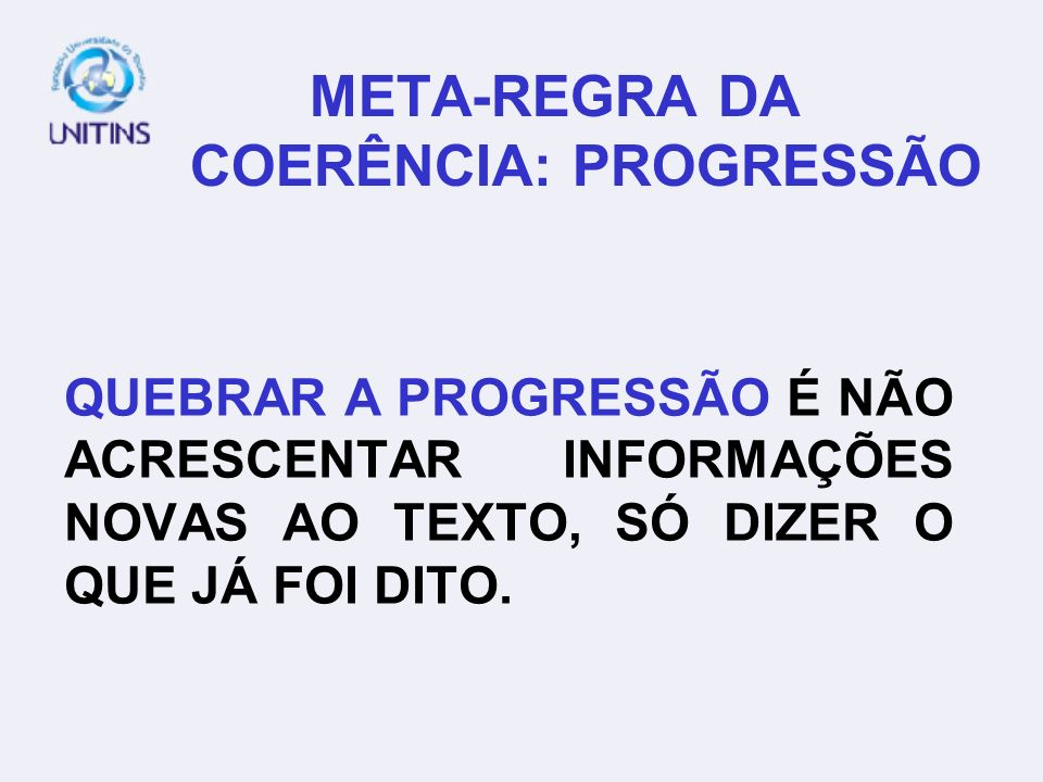 META-REGRA DA COERÊNCIA: PROGRESSÃO
