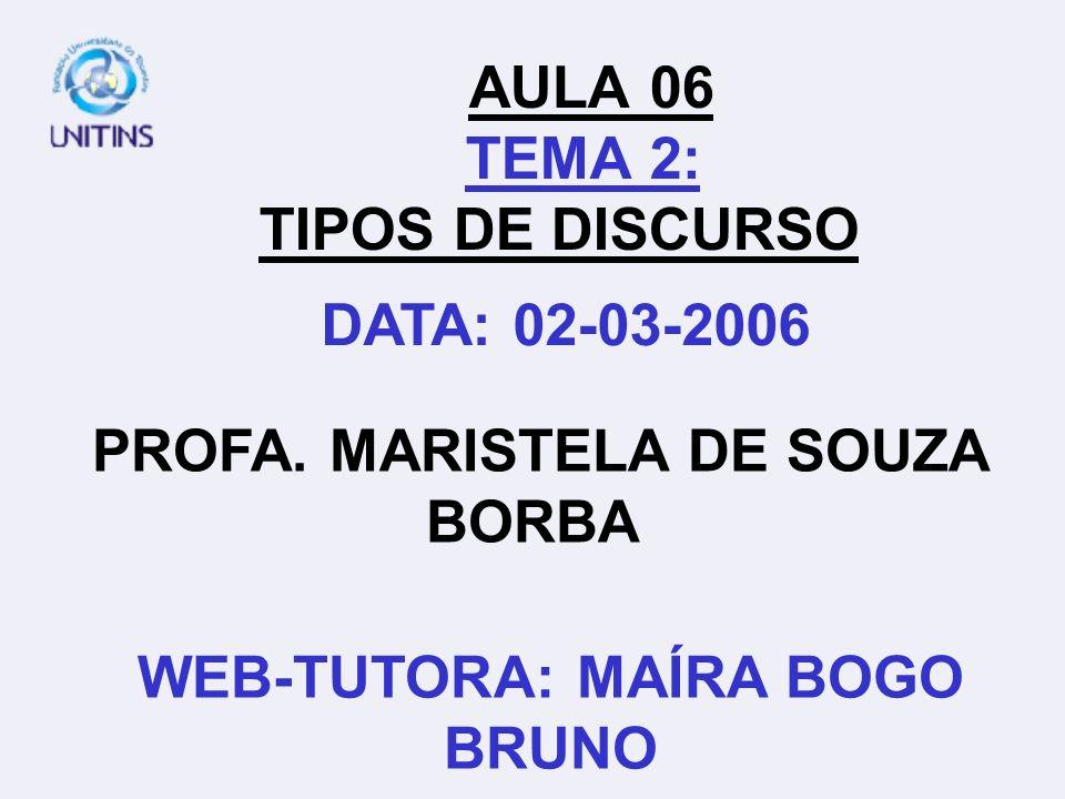 AULA 06 TEMA 2: TIPOS DE DISCURSO
