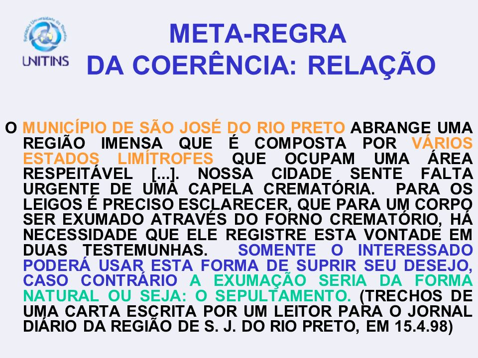 META-REGRA DA COERÊNCIA: RELAÇÃO