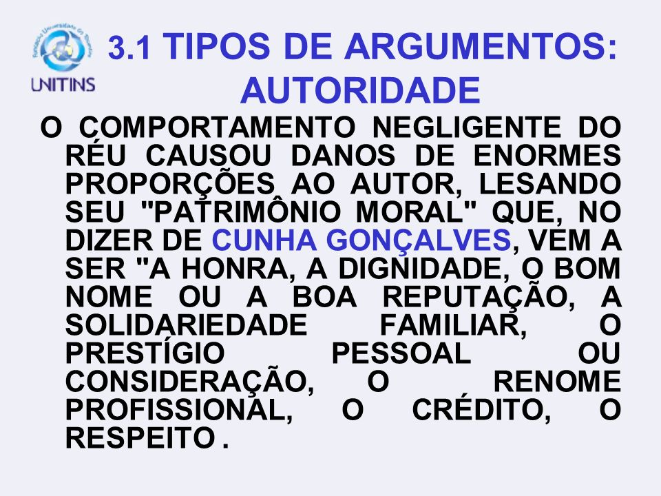 3.1 TIPOS DE ARGUMENTOS: AUTORIDADE