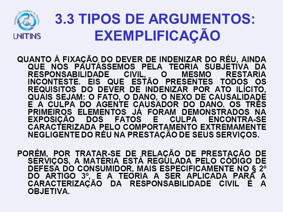 3.3 TIPOS DE ARGUMENTOS: EXEMPLIFICAÇÃO
