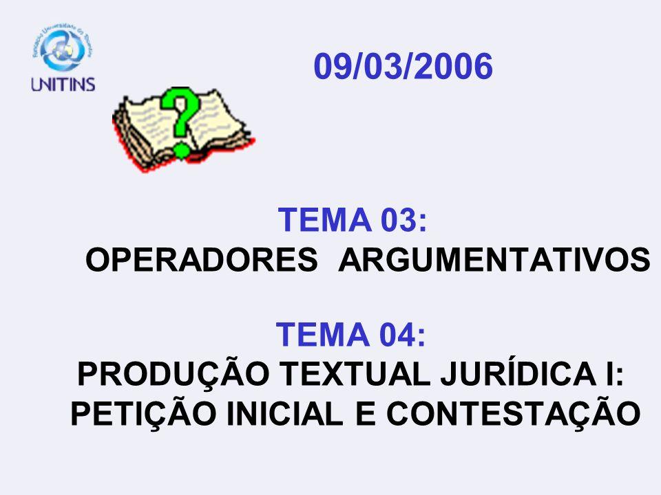 09/03/2006 TEMA 03: OPERADORES ARGUMENTATIVOS TEMA 04: