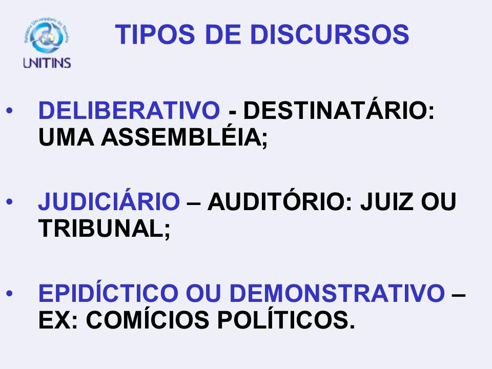 TIPOS DE DISCURSOS DELIBERATIVO - DESTINATÁRIO: UMA ASSEMBLÉIA;