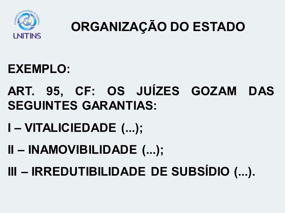 ORGANIZAÇÃO DO ESTADO EXEMPLO: