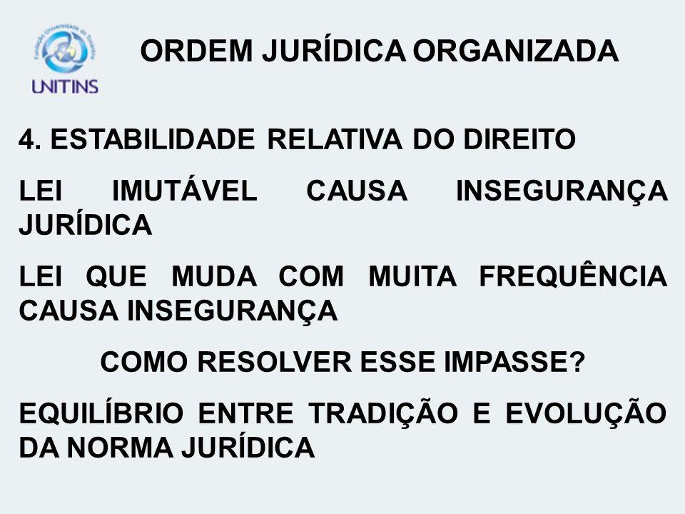 ORDEM JURÍDICA ORGANIZADA COMO RESOLVER ESSE IMPASSE