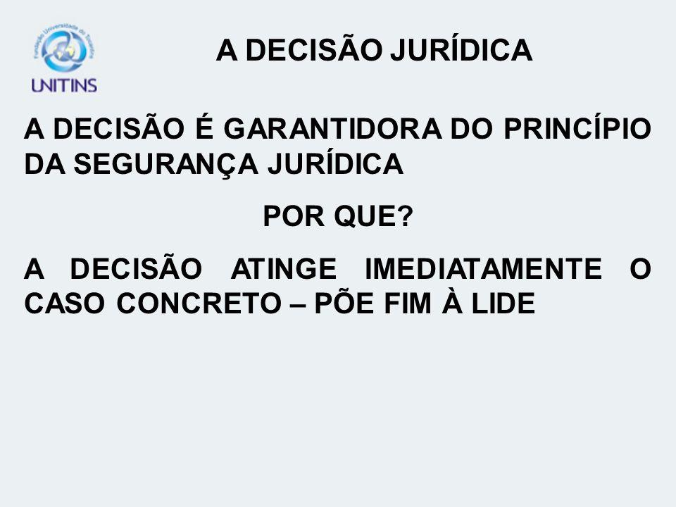 A DECISÃO JURÍDICA A DECISÃO É GARANTIDORA DO PRINCÍPIO DA SEGURANÇA JURÍDICA. POR QUE