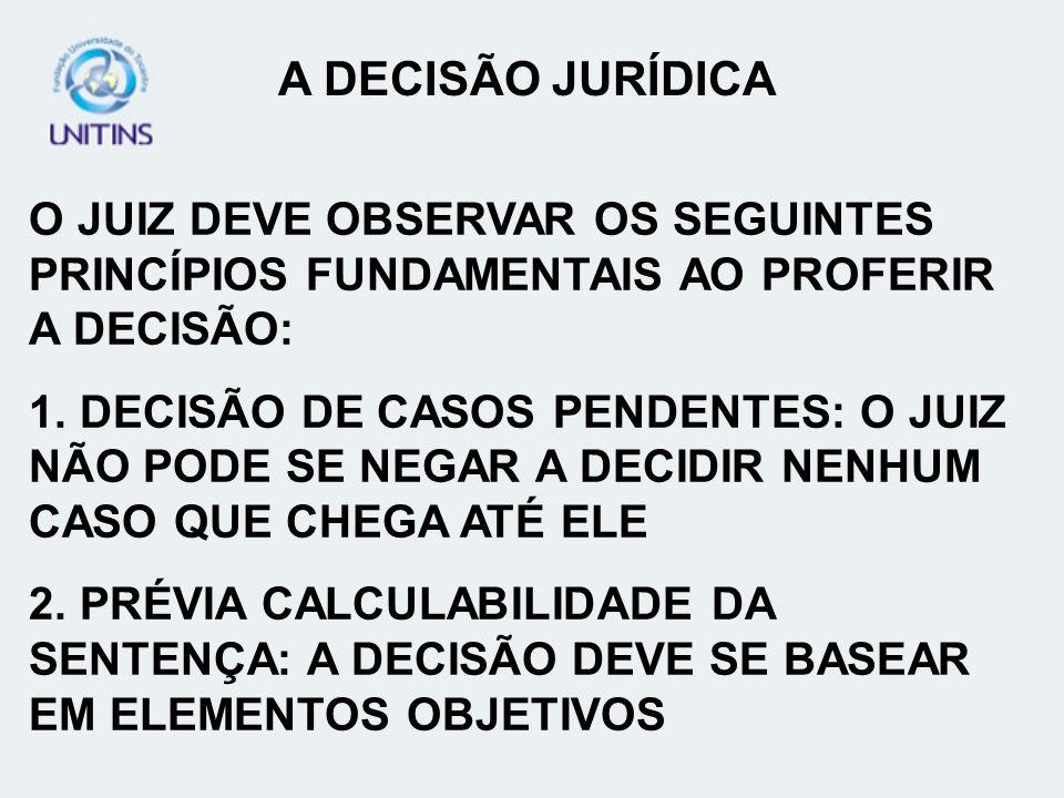 A DECISÃO JURÍDICA O JUIZ DEVE OBSERVAR OS SEGUINTES PRINCÍPIOS FUNDAMENTAIS AO PROFERIR A DECISÃO: