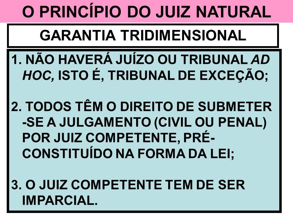 O PRINCÍPIO DO JUIZ NATURAL GARANTIA TRIDIMENSIONAL