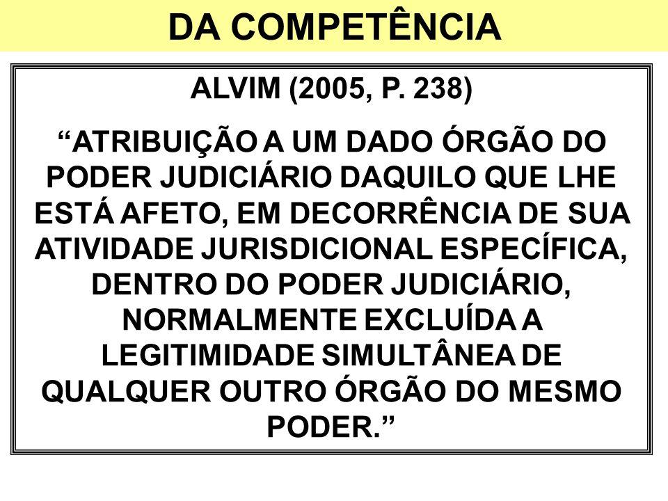 DA COMPETÊNCIA ALVIM (2005, P. 238)