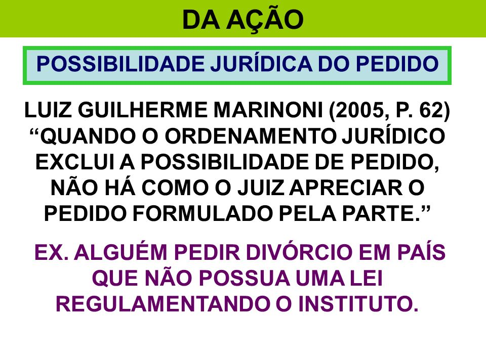 POSSIBILIDADE JURÍDICA DO PEDIDO