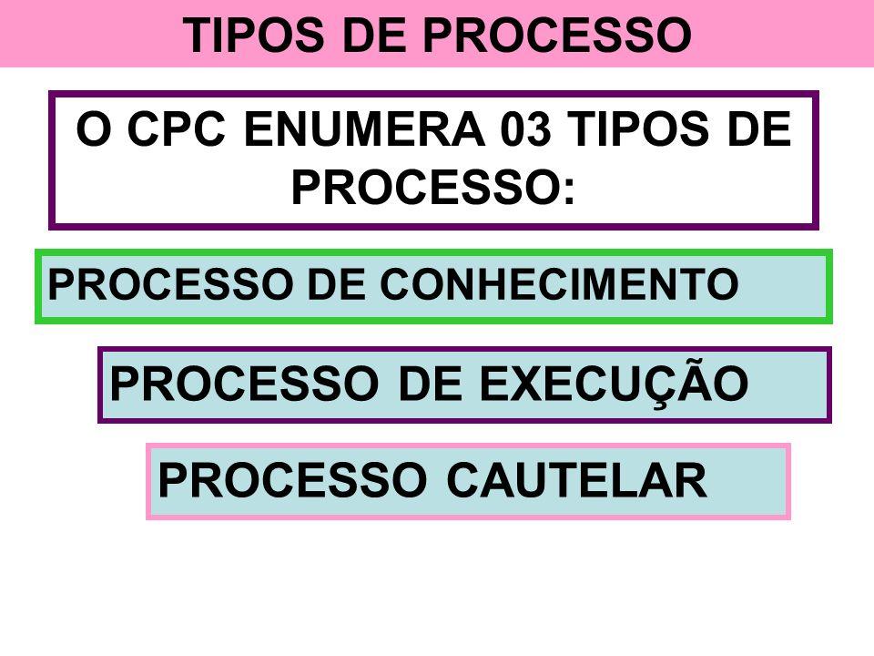 O CPC ENUMERA 03 TIPOS DE PROCESSO: