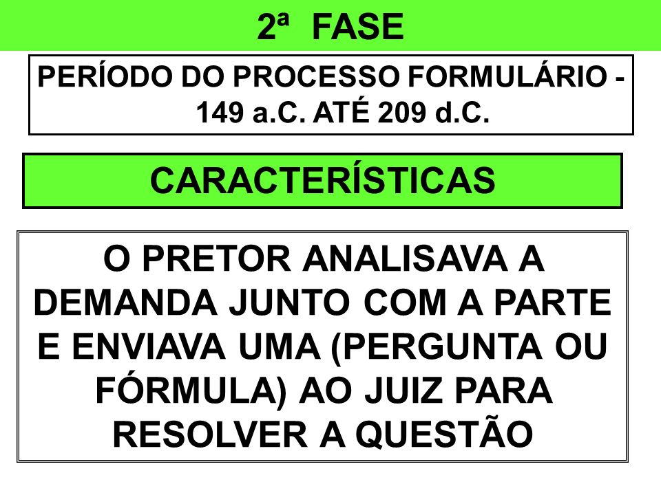 PERÍODO DO PROCESSO FORMULÁRIO - 149 a.C. ATÉ 209 d.C.
