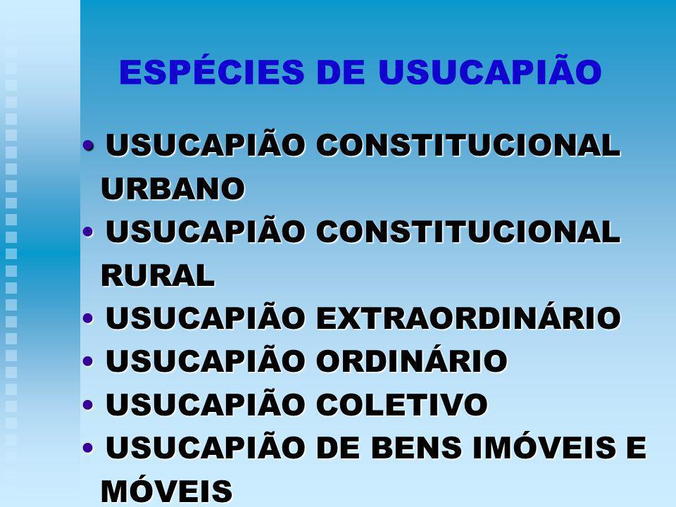 ESPÉCIES DE USUCAPIÃO USUCAPIÃO CONSTITUCIONAL URBANO RURAL