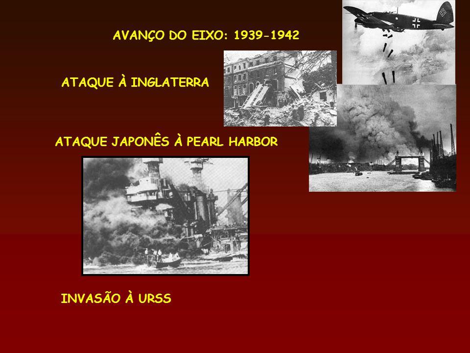 AVANÇO DO EIXO: 1939-1942 ATAQUE À INGLATERRA ATAQUE JAPONÊS À PEARL HARBOR INVASÃO À URSS