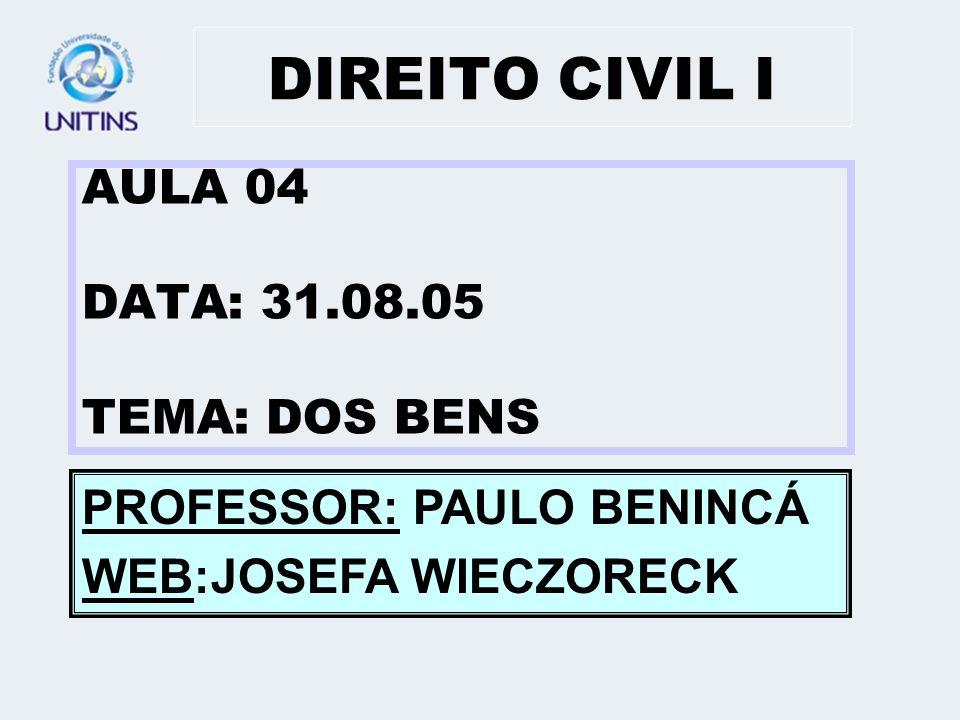 DIREITO CIVIL I AULA 04 DATA: 31.08.05 TEMA: DOS BENS
