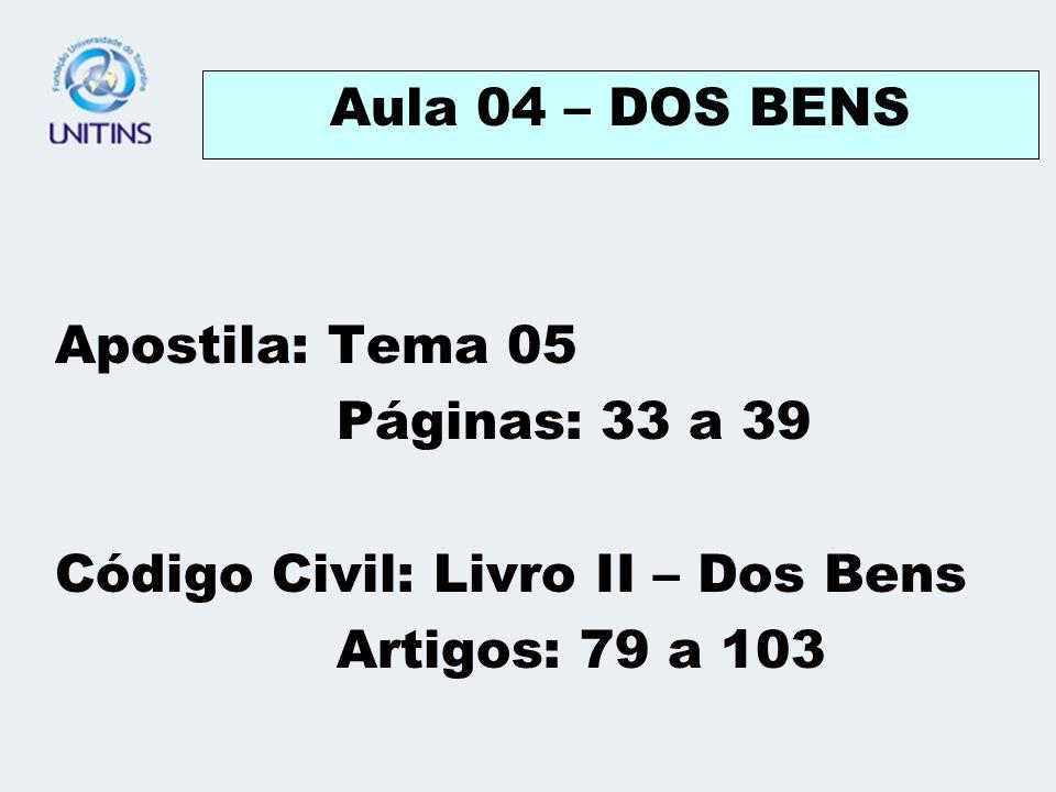Aula 04 – DOS BENS Apostila: Tema 05. Páginas: 33 a 39.