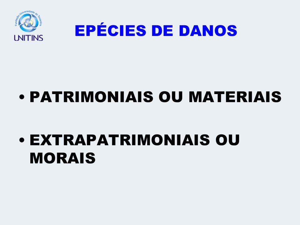 EPÉCIES DE DANOS PATRIMONIAIS OU MATERIAIS EXTRAPATRIMONIAIS OU MORAIS