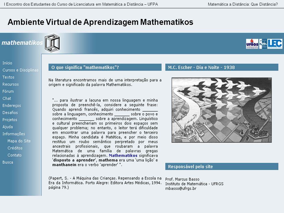Ambiente Virtual de Aprendizagem Mathematikos