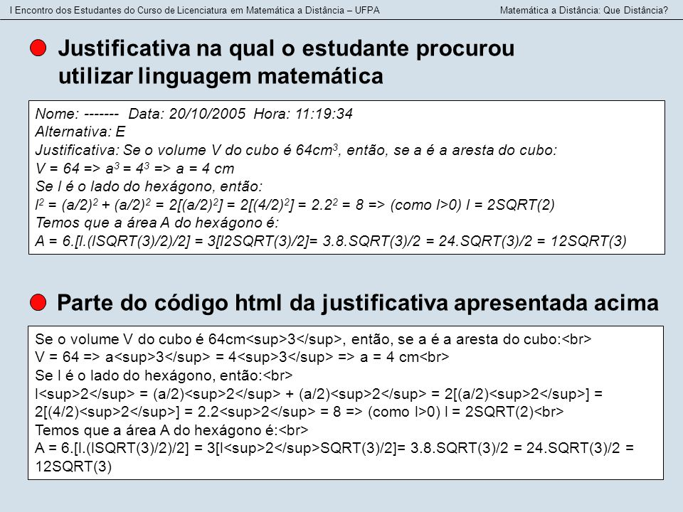 Parte do código html da justificativa apresentada acima