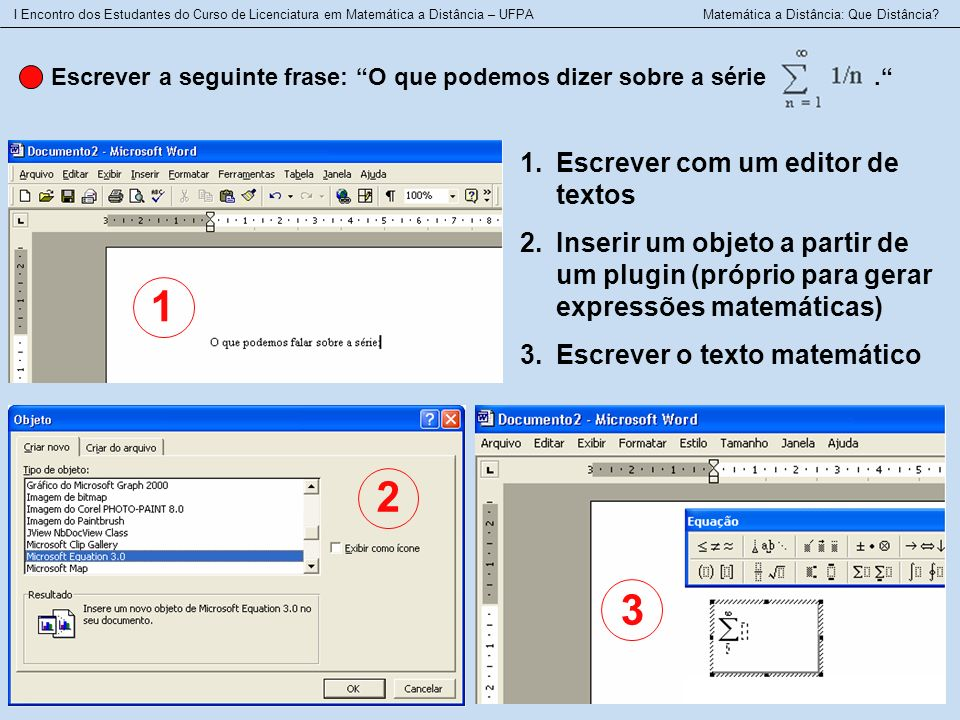 1 2 3 Escrever com um editor de textos