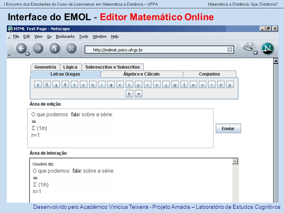 Interface do EMOL - Editor Matemático Online
