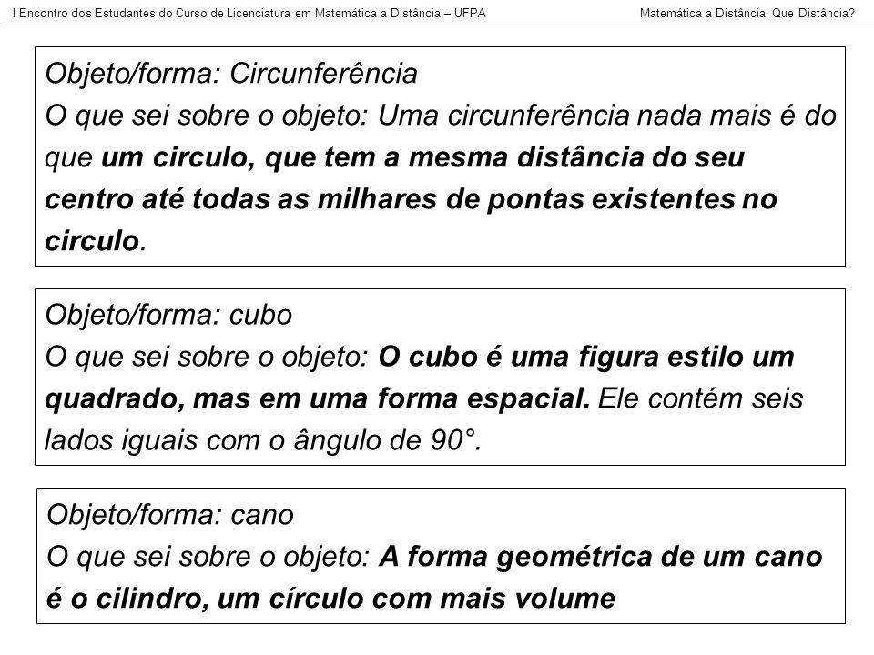 Objeto/forma: Circunferência