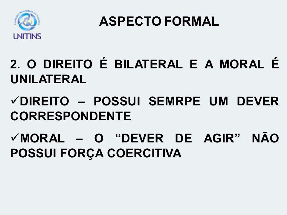 ASPECTO FORMAL 2. O DIREITO É BILATERAL E A MORAL É UNILATERAL