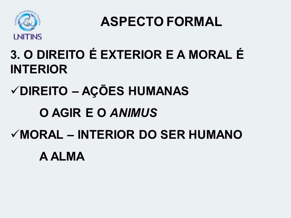 ASPECTO FORMAL 3. O DIREITO É EXTERIOR E A MORAL É INTERIOR