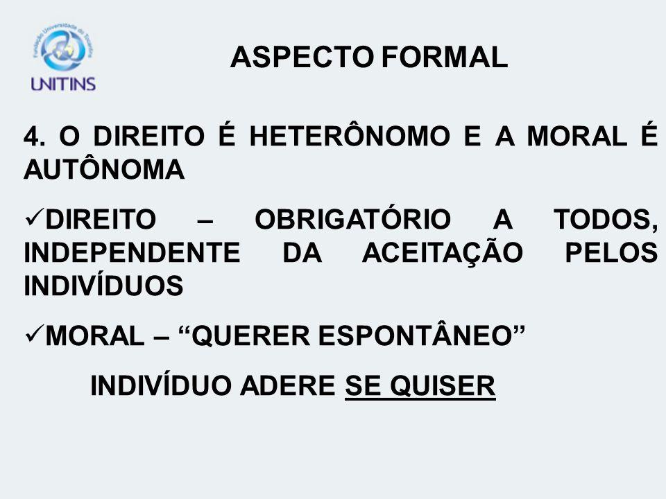 ASPECTO FORMAL 4. O DIREITO É HETERÔNOMO E A MORAL É AUTÔNOMA