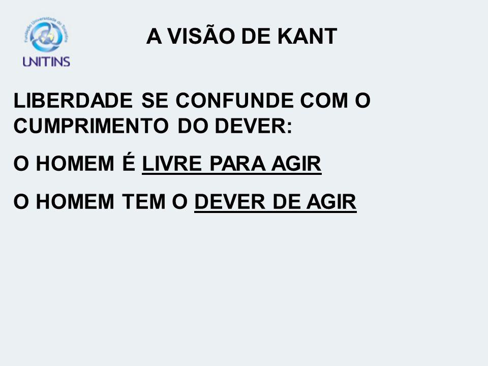 A VISÃO DE KANT LIBERDADE SE CONFUNDE COM O CUMPRIMENTO DO DEVER: