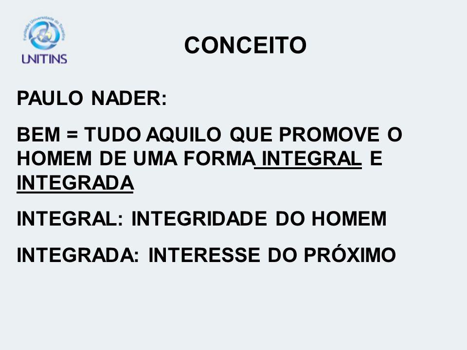 CONCEITO PAULO NADER: BEM = TUDO AQUILO QUE PROMOVE O HOMEM DE UMA FORMA INTEGRAL E INTEGRADA. INTEGRAL: INTEGRIDADE DO HOMEM.
