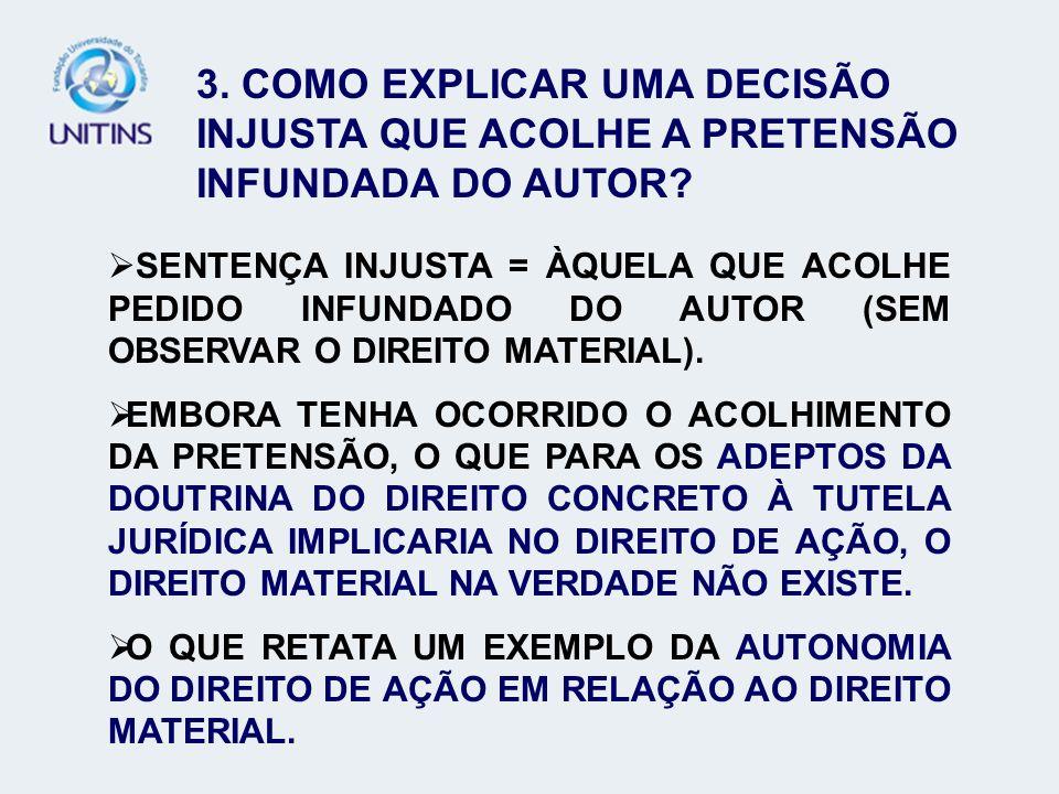 3. COMO EXPLICAR UMA DECISÃO INJUSTA QUE ACOLHE A PRETENSÃO INFUNDADA DO AUTOR