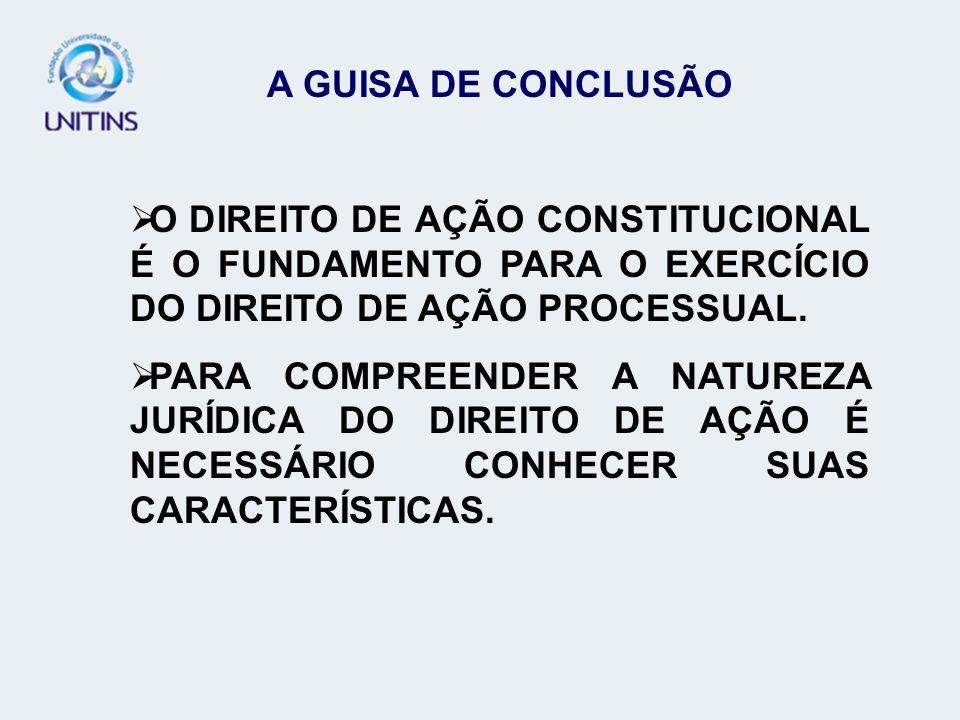 A GUISA DE CONCLUSÃOO DIREITO DE AÇÃO CONSTITUCIONAL É O FUNDAMENTO PARA O EXERCÍCIO DO DIREITO DE AÇÃO PROCESSUAL.
