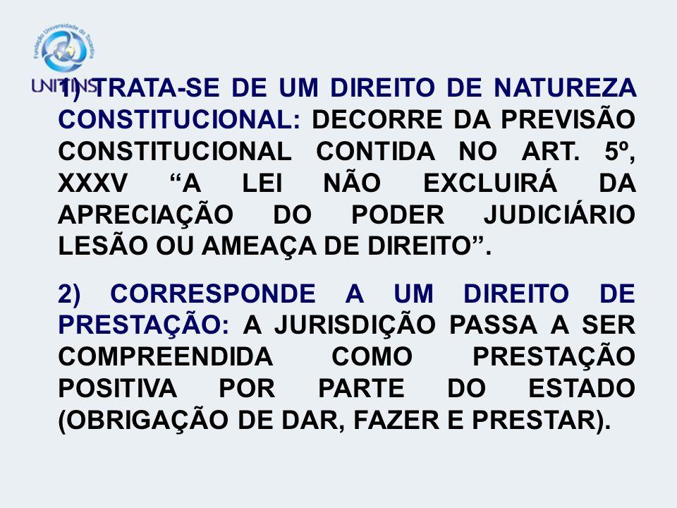 1) TRATA-SE DE UM DIREITO DE NATUREZA CONSTITUCIONAL: DECORRE DA PREVISÃO CONSTITUCIONAL CONTIDA NO ART. 5º, XXXV A LEI NÃO EXCLUIRÁ DA APRECIAÇÃO DO PODER JUDICIÁRIO LESÃO OU AMEAÇA DE DIREITO .