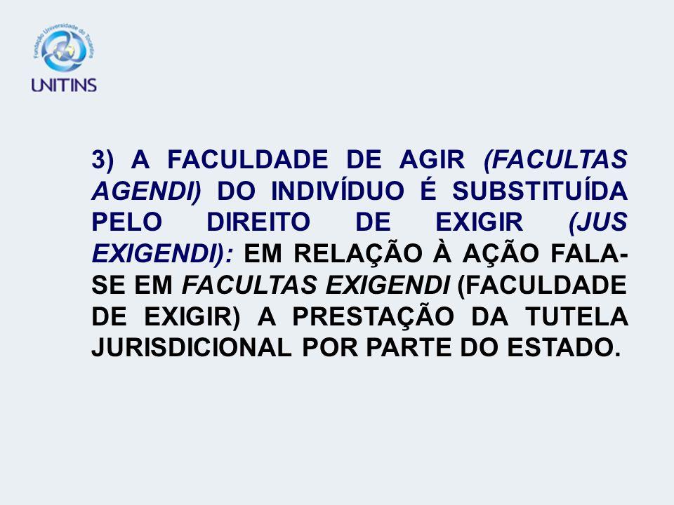 3) A FACULDADE DE AGIR (FACULTAS AGENDI) DO INDIVÍDUO É SUBSTITUÍDA PELO DIREITO DE EXIGIR (JUS EXIGENDI): EM RELAÇÃO À AÇÃO FALA-SE EM FACULTAS EXIGENDI (FACULDADE DE EXIGIR) A PRESTAÇÃO DA TUTELA JURISDICIONAL POR PARTE DO ESTADO.