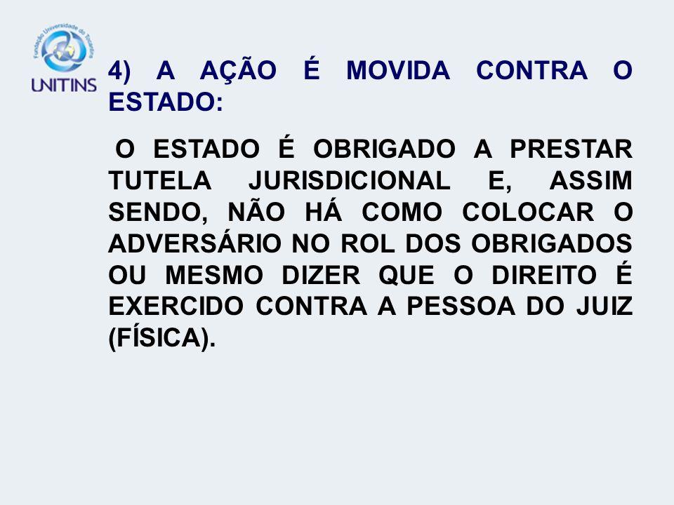 4) A AÇÃO É MOVIDA CONTRA O ESTADO: