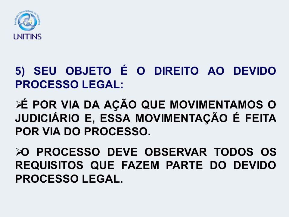 5) SEU OBJETO É O DIREITO AO DEVIDO PROCESSO LEGAL: