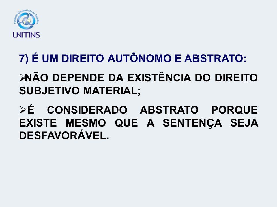 7) É UM DIREITO AUTÔNOMO E ABSTRATO: