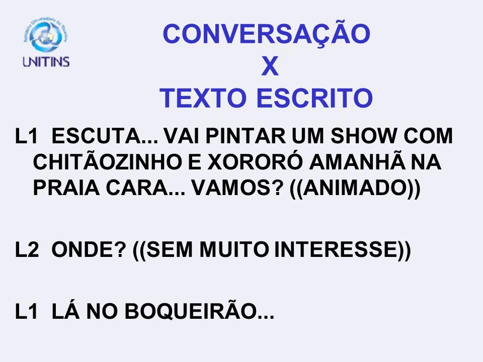 CONVERSAÇÃO X TEXTO ESCRITO