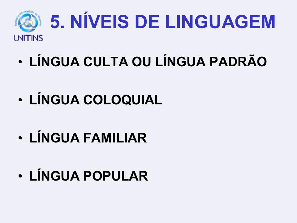 5. NÍVEIS DE LINGUAGEM LÍNGUA CULTA OU LÍNGUA PADRÃO LÍNGUA COLOQUIAL