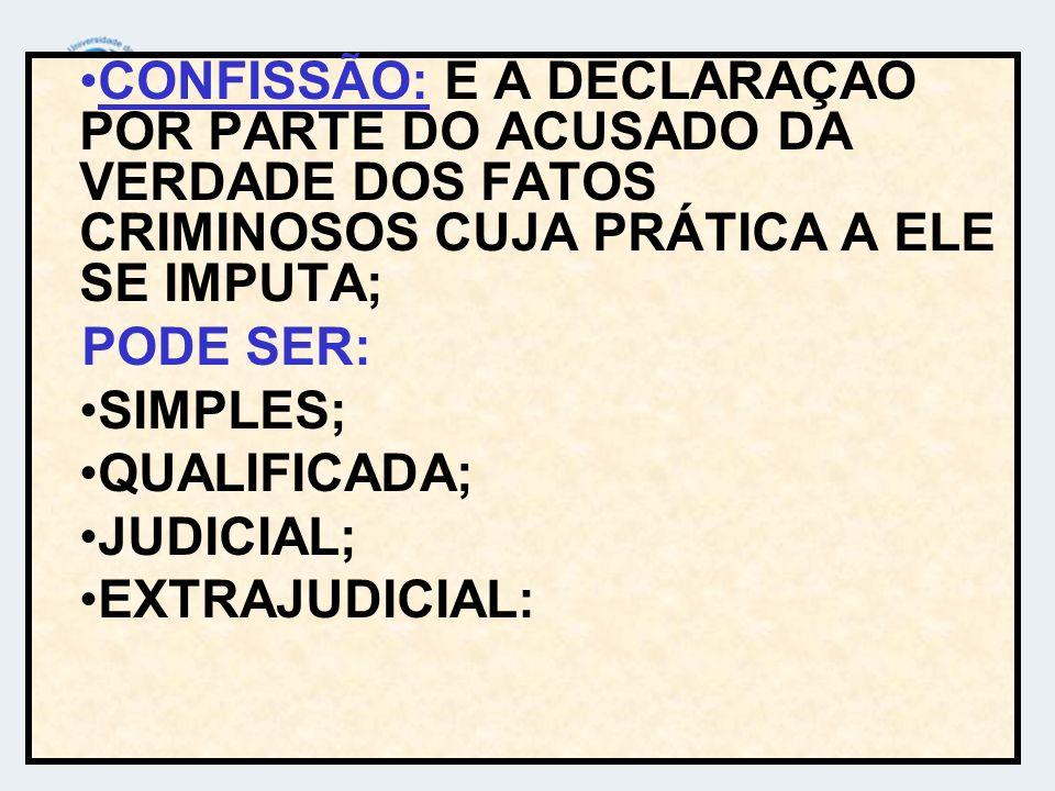 CONFISSÃO: E A DECLARAÇAO POR PARTE DO ACUSADO DA VERDADE DOS FATOS CRIMINOSOS CUJA PRÁTICA A ELE SE IMPUTA;