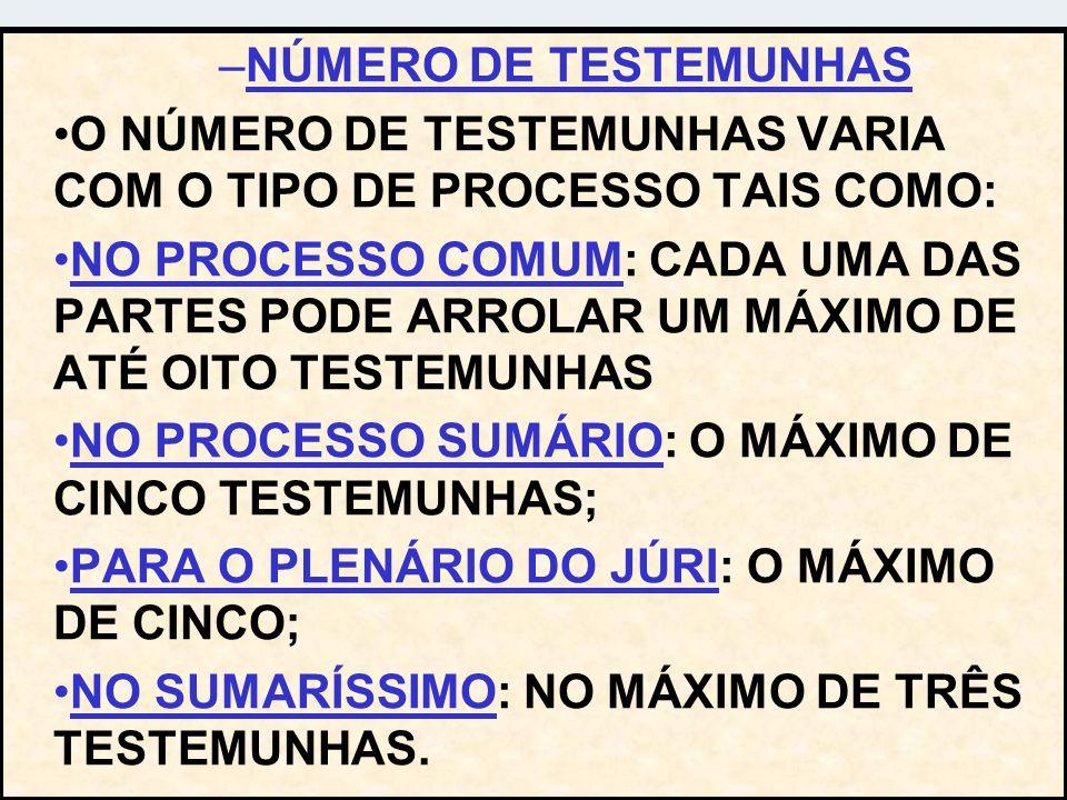NÚMERO DE TESTEMUNHAS O NÚMERO DE TESTEMUNHAS VARIA COM O TIPO DE PROCESSO TAIS COMO: