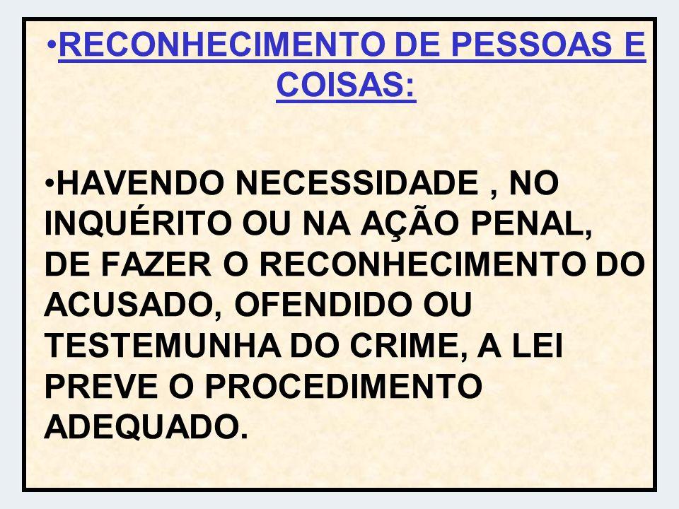 RECONHECIMENTO DE PESSOAS E COISAS:
