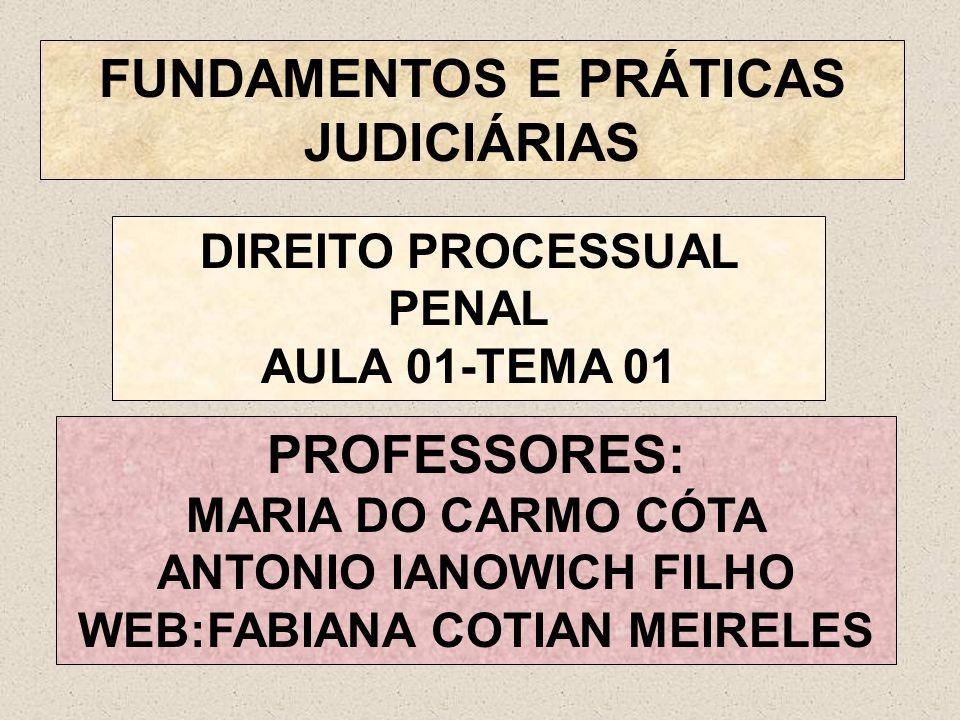 FUNDAMENTOS E PRÁTICAS JUDICIÁRIAS PROFESSORES: