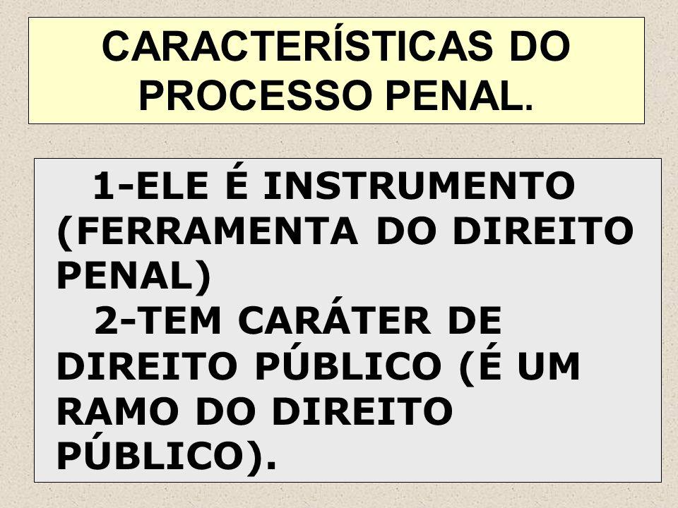 CARACTERÍSTICAS DO PROCESSO PENAL.