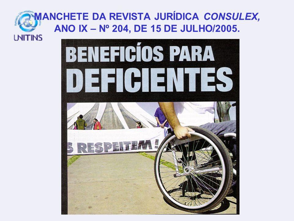 MANCHETE DA REVISTA JURÍDICA CONSULEX, ANO IX – Nº 204, DE 15 DE JULHO/2005.