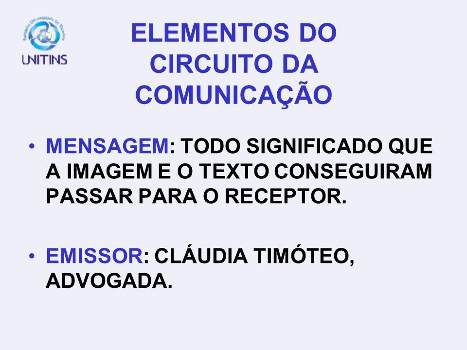 ELEMENTOS DO CIRCUITO DA COMUNICAÇÃO