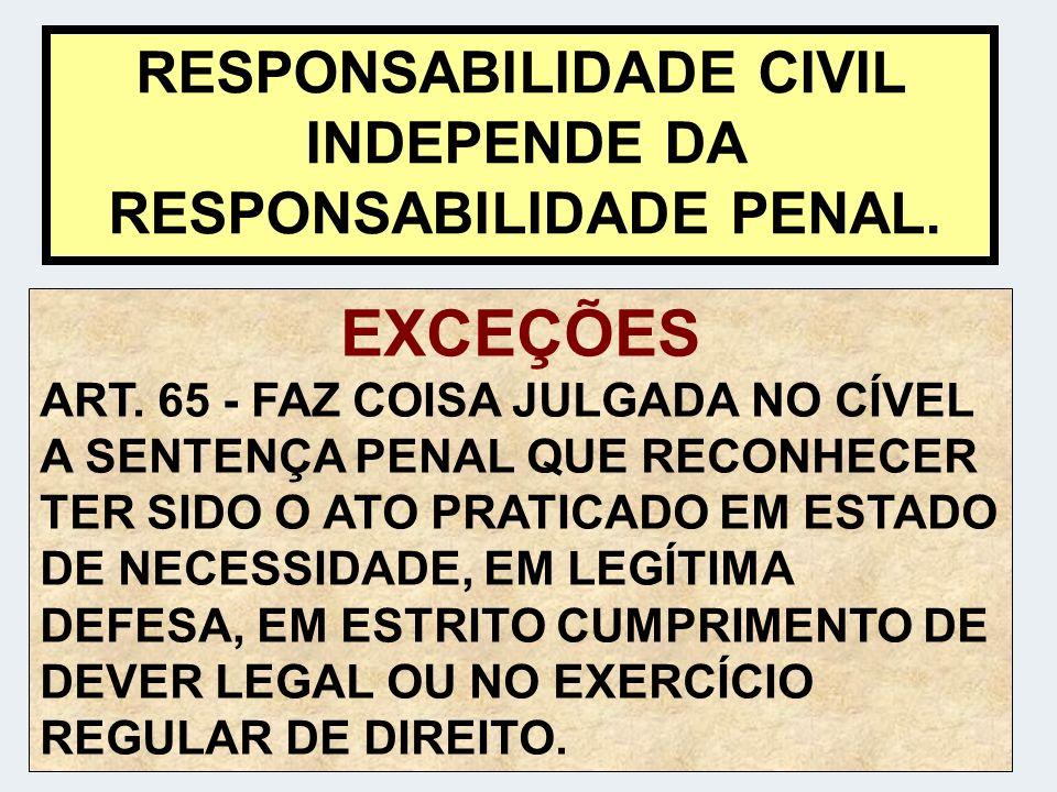 RESPONSABILIDADE CIVIL INDEPENDE DA RESPONSABILIDADE PENAL.